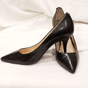 MICHAEL KORS Black Leather Pump Heels 7.5